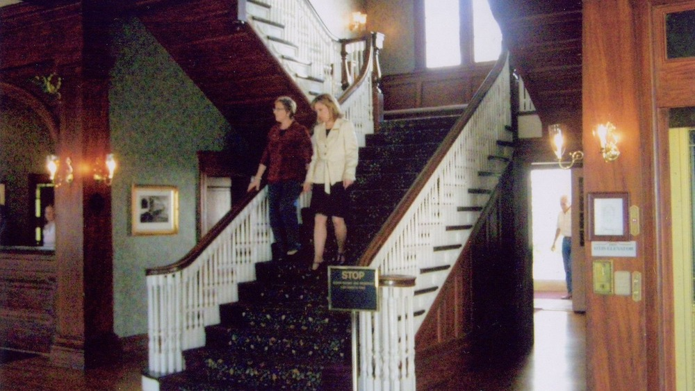 Stanley Hotel Staircase with two people walking down