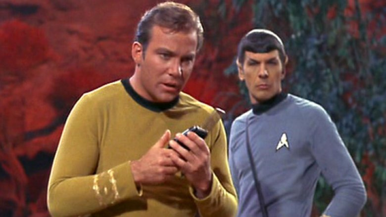 Kirk using communicator on Star Trek
