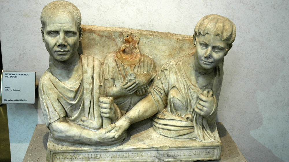 Statue relief of the Decii, freed Roman slaves