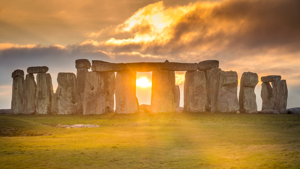 Stonehenge during sunset on the winter solstice