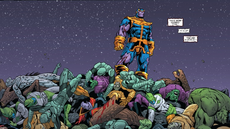 Thanos Defeating Avengers