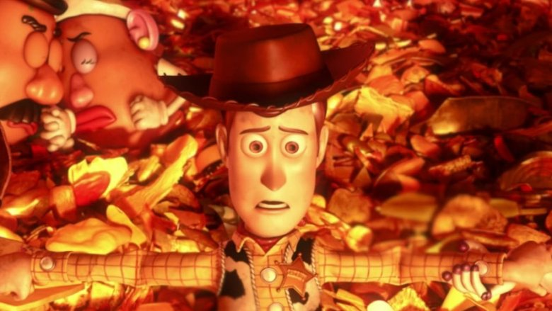 Woody toy story burning alive
