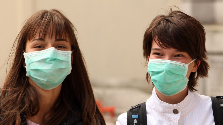 People wearing protective masks