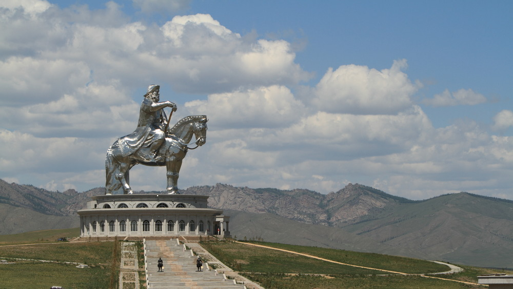 genghis khan equestrian statue with blue sky