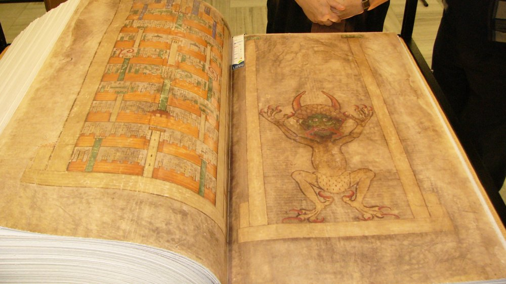 A replica of the Codex Gigas on display