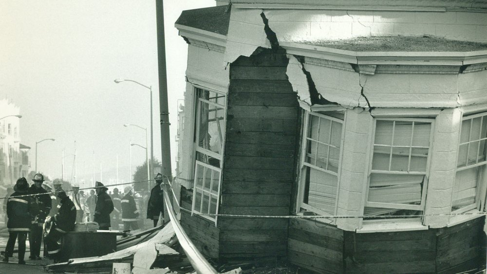A collapsed home the day after the Loma Prieta earthquake