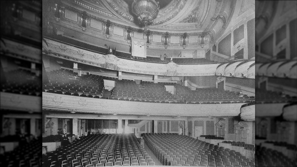 Interior of the Palace Theatre, with rows of seats