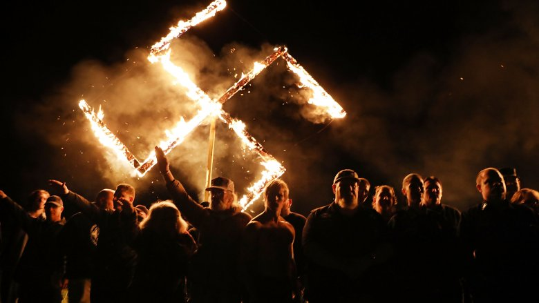 burning swastika