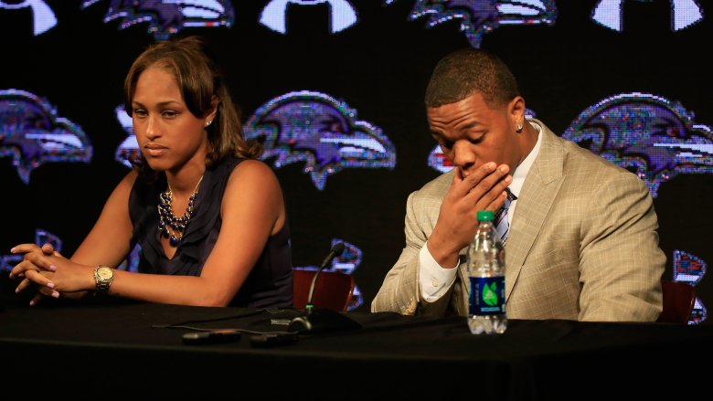 Janay and Ray Rice at their Baltimore Ravens press conference