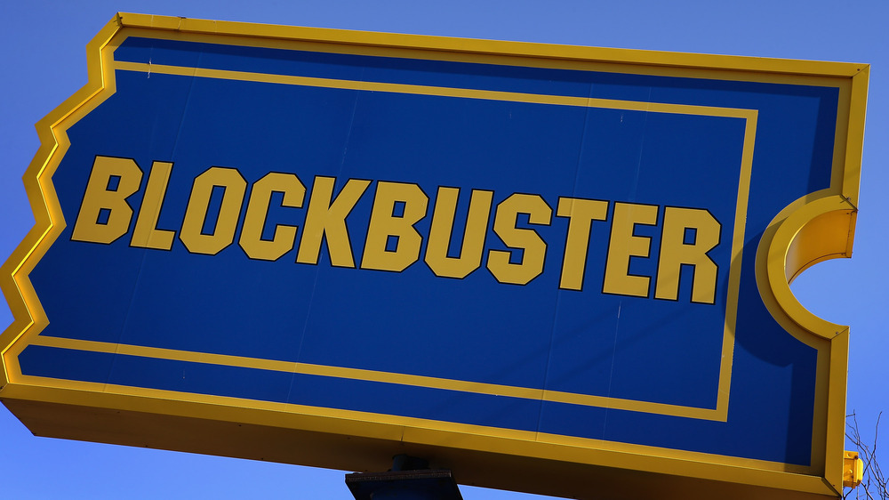 outdoor signage of a blockbuster