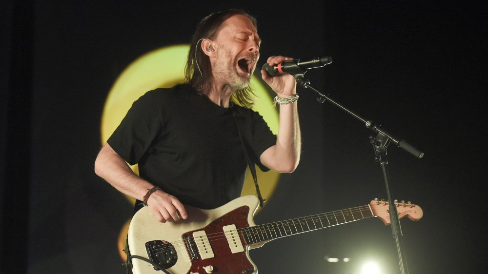 Thom Yorke performs for a crowd in 2018