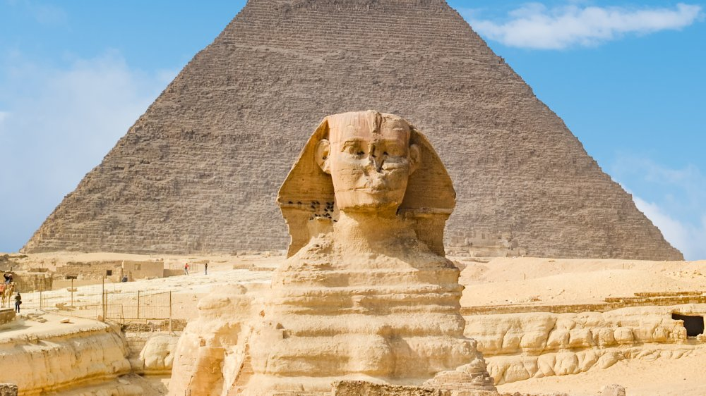 Great Sphinx of Giza under blue light
