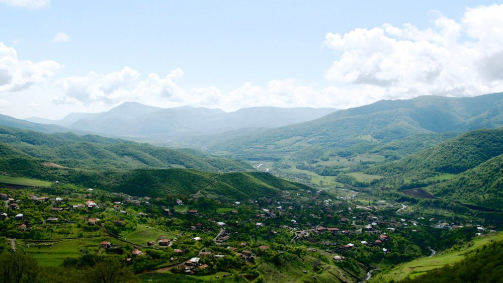 The Gandzasar monastery and the village of Vank rest in the valley seen May 2, 2004 in Nagorno-Karabakh, Azerbaijan. The village as well as the monastery are difficult to access. Only a small dirt road can take you there.