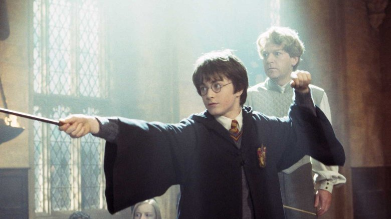 Daniel Radcliffe and Kenneth Branaugh in Harry Potter and the Chamber of Secrets