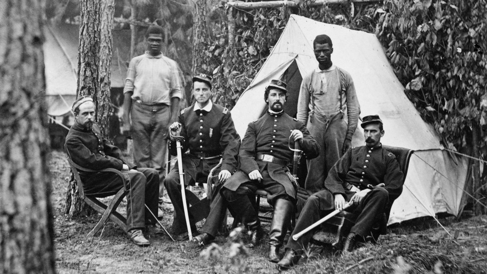 Civil War Union officers with former slaves