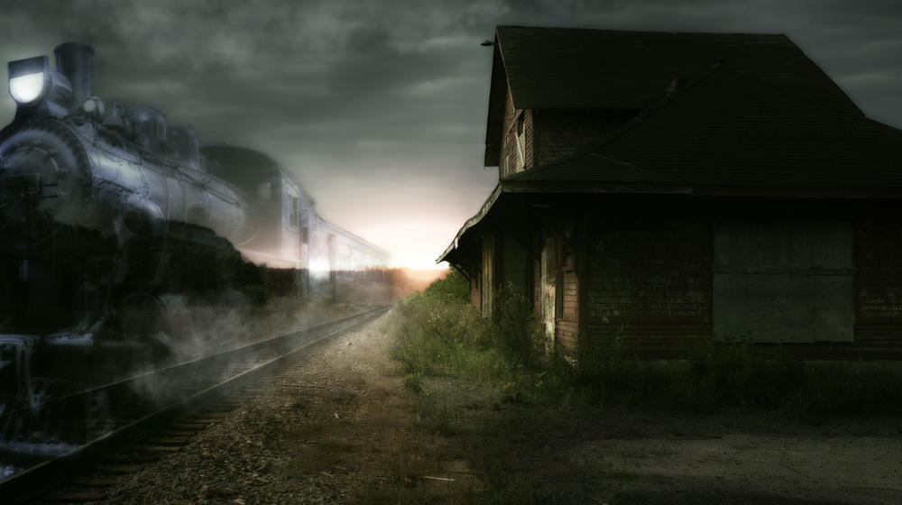 Spooky house and ghost train