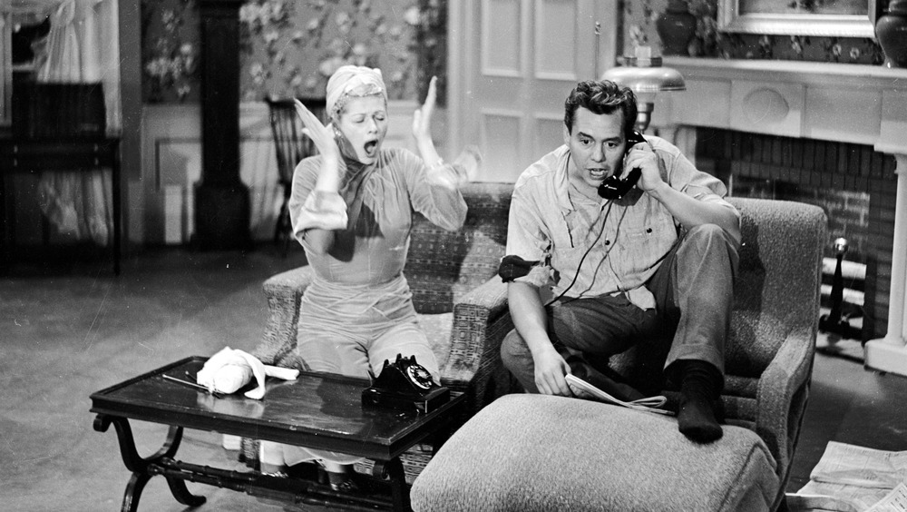 Lucille Ball and Desi Arnaz in an episode of I Love Lucy