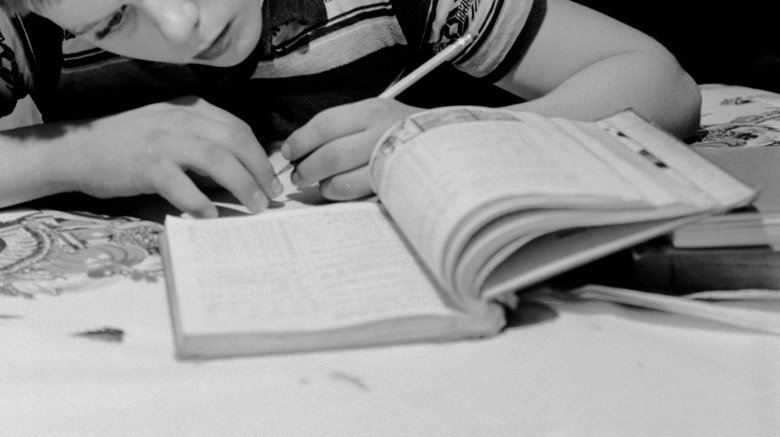 Boy studying at home