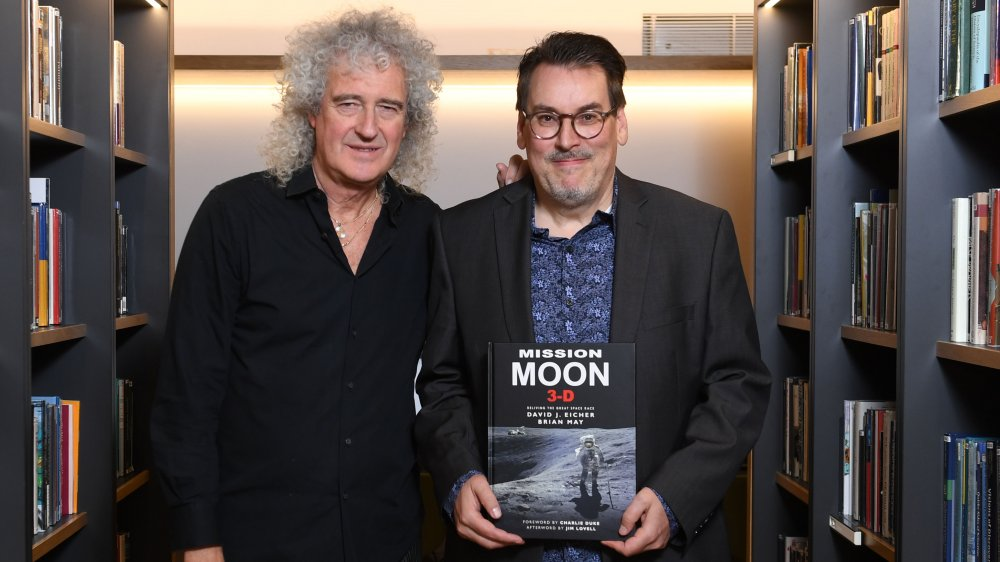 Brian May and David Eicher at their book launch in 2018