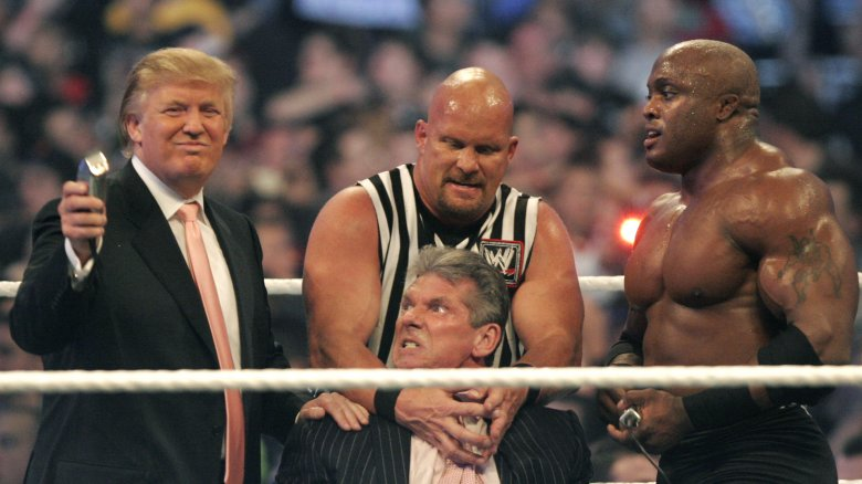 Donald Trump shaves Vince McMahon's hair