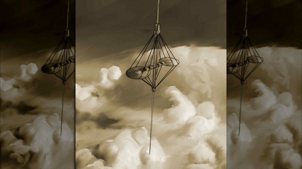 An artist's depiction of the space elevator rising above the clouds.
