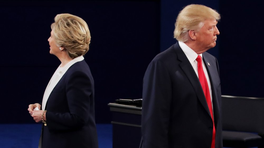 A photograph of 2016 presidential candidates Hillary Clinton and Donald Trump.