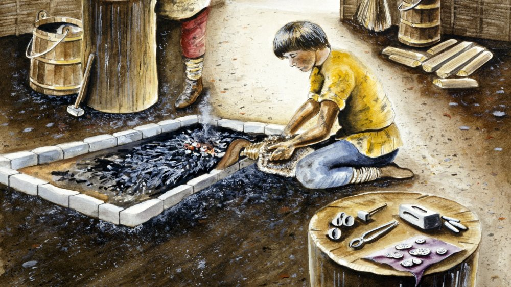 Viking child working in a shop