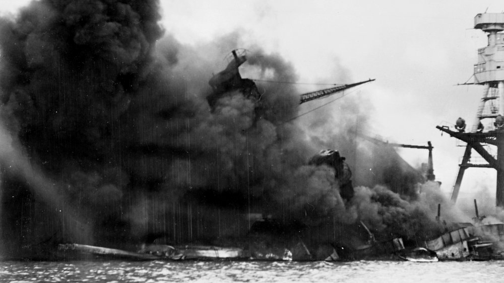 The USS Arizona burning after the attack on Pearl Harbor