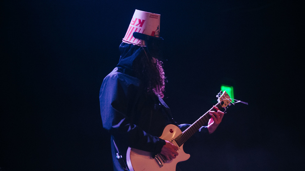 Buckethead playing guitar