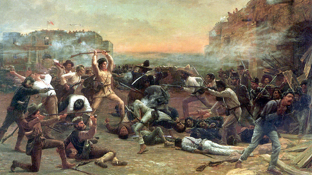 Painting of battle at The Alamo