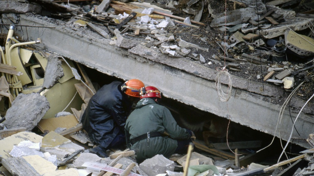 Rescue workers looking for people in the rubble