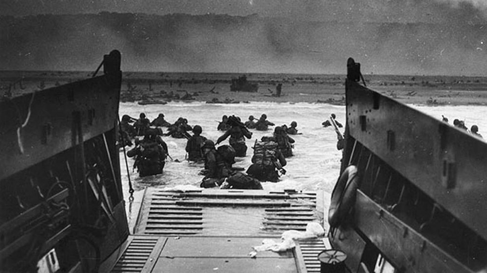 American troops disembarking on D-Day