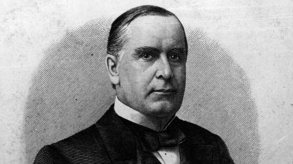 The 25th President of the United States of America, William McKinley (1843 - 1901). He was assassinated in Buffalo, New York in 1901.