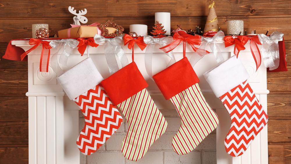 Christmas stockings by fireplace