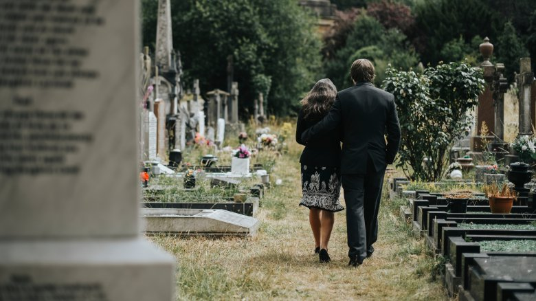 Couple in a graveyard