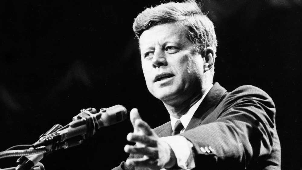 John F. Kennedy gives remarks